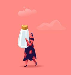 Cute woman holding huge salt shaker isolated vector
