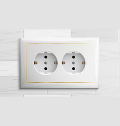 Double grounded socket switch brick wall vector