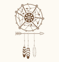 Dream catcher tribal ornament vector