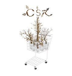 Dry trees in shopping cart with csr concepts vector
