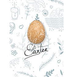 easter composition with eggs and handdrawn vector image