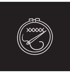 Embroidery sketch icon vector image