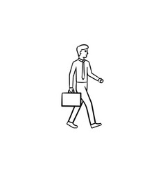employer with briefcase hand drawn sketch icon vector image