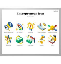 Entrepreneur icons isometric pack vector