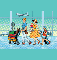 Family travelers at the airport vector