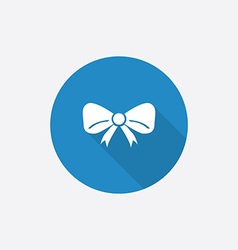 festive bow Flat Blue Simple Icon with long shadow vector image