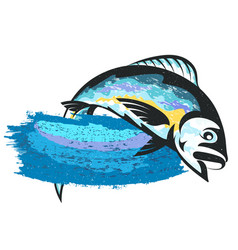 fish on the wave isolated vector image