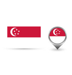 Flag singapore location point with vector