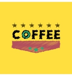 Flat icon design collection coffee emblem vector