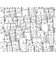 funny cats family seamless pattern for your vector image