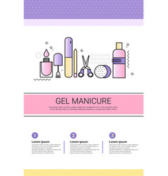 Gel manicure cosmetology infographics salon vector