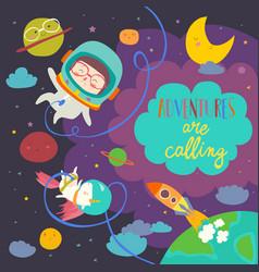 Girl astronaut with her unicorn vector