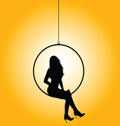 Girl in circle silhouette vector