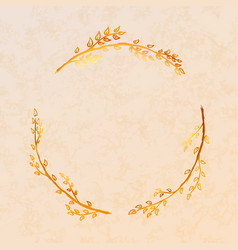 golden detailed floral wreath on beige paper vector image
