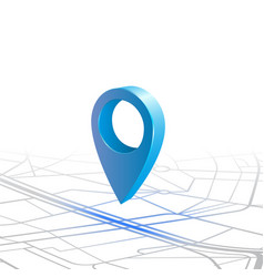 gps navigator pin checking blue color on map vector image