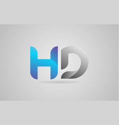 Grey blue alphabet letter hd h d logo icon design vector