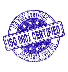 grunge textured iso 9001 certified stamp seal vector image