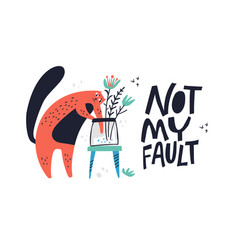Guilty cat excuse color flat hand drawn vector