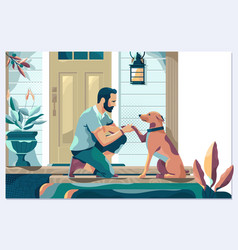 Guy on porch paw dog handsome young man vector
