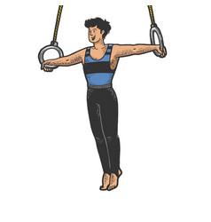 Gymnast performing on steady rings sketch vector