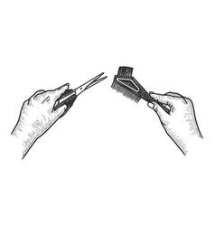 hairdresser hands scissors and comb sketch vector image
