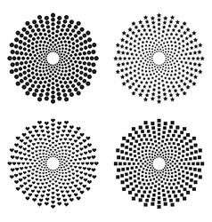 Halftone circles of dots stars squares heart vector image