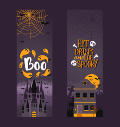 halloween party invitation vertical banners vector image