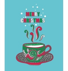 Hand drawn Christmas cup with hot drink vector image