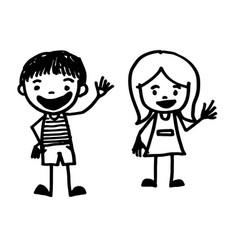 hand drawn kid cartoon vector image