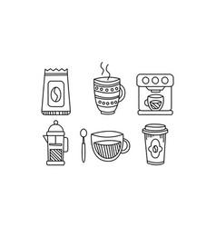hand drawn kitchen utensils set coffee pot mug vector image