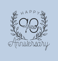 Happy anniversary number ninety with wreath crown vector