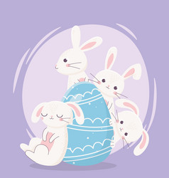 Happy easter day white rabbits decorative blue vector