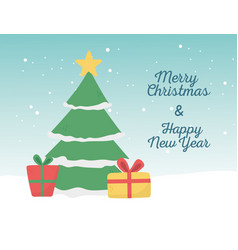 happy new year 2020 merry christmas tree snow star vector image