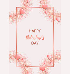 Happy valentines day greeting card with pink vector