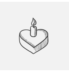 Heart-shaped cake with candle sketch icon vector image