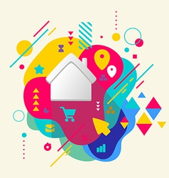 House on abstract colorful spotted background with vector image