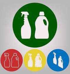 Household chemical bottles sign 4 white vector