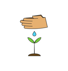 human hands watering a young plant on theme vector image