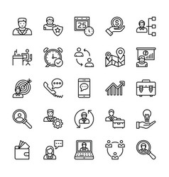 Human resources line icons 2 vector