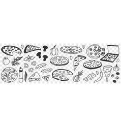 ingredients for pizza doodle set vector image