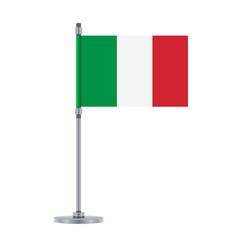 Italian flag on the metallic pole vector