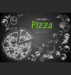 italian pizza top view frame a set classic vector image