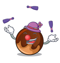 juggling chocolate donut mascot cartoon vector image