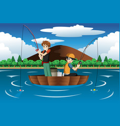 Kids fishing together vector
