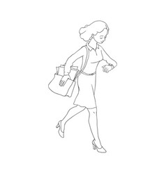 late business woman hurrying up vector image