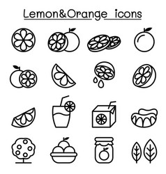 lemon orange icon set in thin line style vector image