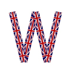 Letter W made from United Kingdom flags vector image