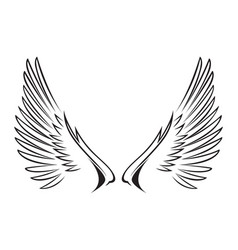 Line art of wings vector