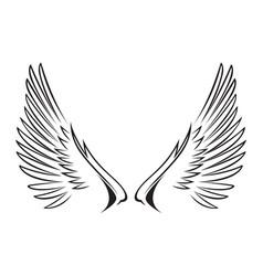 line art wings vector image