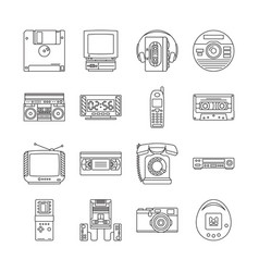 linear icons set with gadgets 90s retro vector image